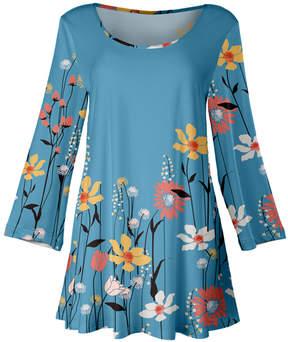 Lily Blue Modernist Floral A-Line Tunic - Women & Plus