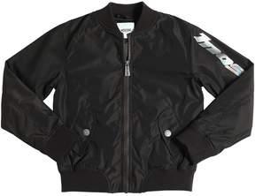 Moschino Logo Printed Nylon Bomber Jacket