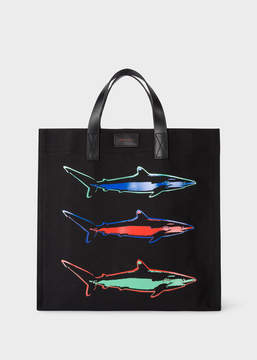Paul Smith 'Artful Lives Shark' Black Canvas Tote Bag