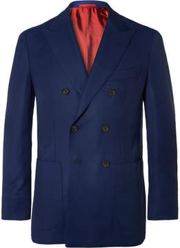 Isaia Blue Sailor Double-Breasted Super 130s Wool-Hopsack Blazer