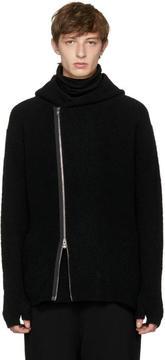 The Viridi-anne Black Overlap Zip Hoodie