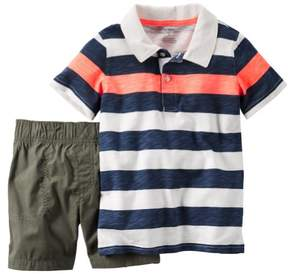 Carter's Baby Clothing Outfit Boys 2-Piece Stripe Polo & Short Set Green NB