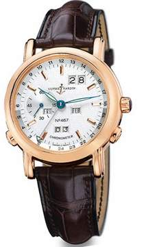 Ulysse Nardin GMT Perpetual Silver Dial 18kt Yellow Gold Brown Leather Automatic Men's Watch