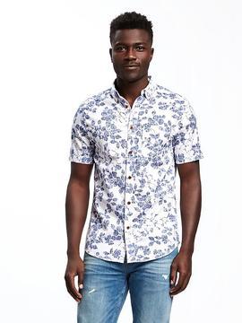Old Navy Slim-Fit Indigo-Patterned Shirt For Men