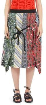 Carven Silk Mutli-Print Skirt