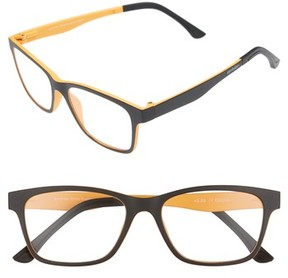 Eyebobs Men's Sticky Business 52Mm Reading Glasses With Polarized Sunglass Clip - Black With Yellow