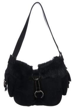 Stuart Weitzman Fur-Trimmed Suede Shoulder Bag