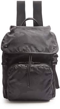 Valentino Camouflage-print nylon and leather backpack