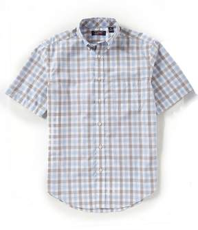 Roundtree & Yorke TravelSmart Big & Tall Short-Sleeve Gingham Sportshirt