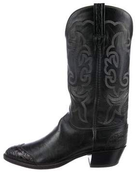 Lucchese Alligator-Trimmed Cowboy Boots