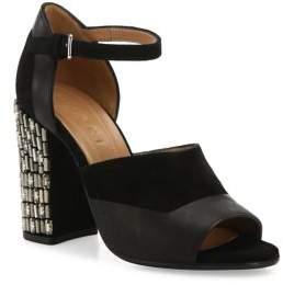 Marni Embellished Block Heel Suede & Leather Ankle-Strap Sandals