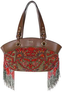 Emilio Pucci Open Box Shoulder Bag in Sequined Suede Leather