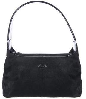 Tod's Leather-Trimmed Ponyhair Shoulder Bag