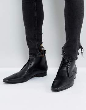 Jeffery West Escobar Brogue Boots In Black