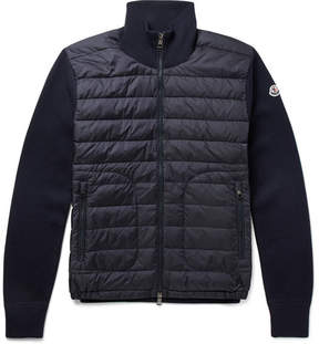 Moncler Slim-Fit Panelled Wool-Blend And Quilted Shell Down Jacket
