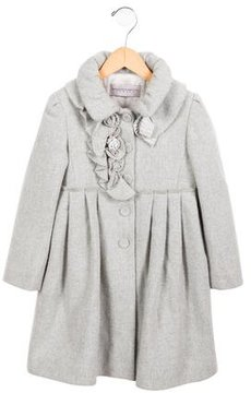 Ermanno Scervino Girls' Pleated Wool Coat