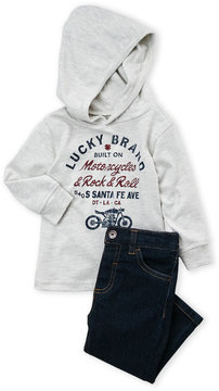 Lucky Brand Infant Boys) Two-Piece Logo Hooded Tee & Jeans Set