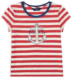 Polo Ralph Lauren Girls' Striped Anchor Tee - Big Kid