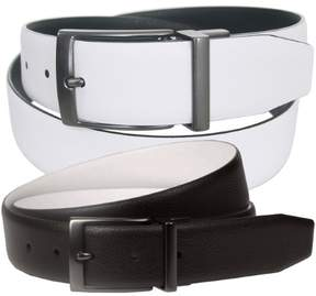 Nike Men's Reversible Textured Leather Belt, 40' Black/White