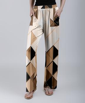 Lily Black & Cream Geometric Palazzo Pants - Women & Plus