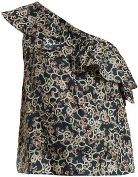 Etoile Isabel Marant Thom abstract-print one-shoulder linen top