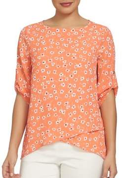 Chaus Electric Sunset Ditsy Asymmetrical Blouse