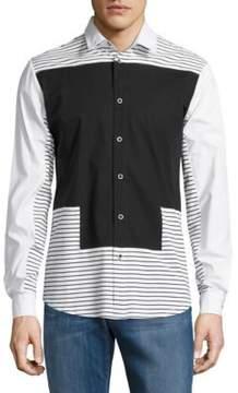 Reason Mixed Print Button-Down Shirt