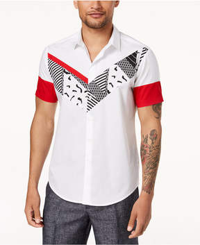 INC International Concepts I.n.c. Men's Pieced Graphic-Print Linen Shirt, Created for Macy's
