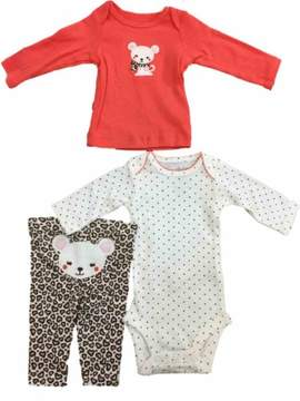 Carter's Infant Toddler Girls Coral Mouse Shirt Bodysuit & Cheetah Leggings 3-PC Outfit