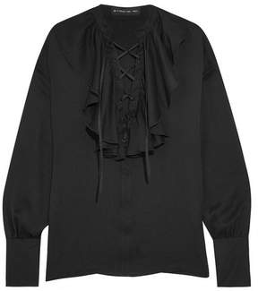 Etro Ruffled Lace-up Silk-jacquard Blouse - Black