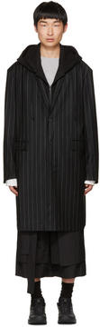 Juun.J Black Pinstripe Hooded Coat