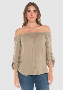 Bella Dahl Off Shoulder Button Down-Amazon Jungle-XS