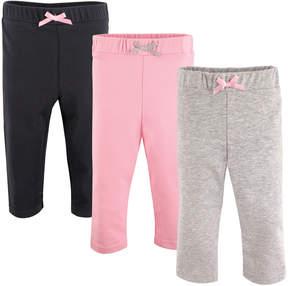 Luvable Friends Pink & Gray Bow Warm-Up Pants Set - Infant