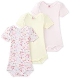 Petit Bateau SET OF 3 BABY GIRLS SHORT SLEEVE BODYSUITS
