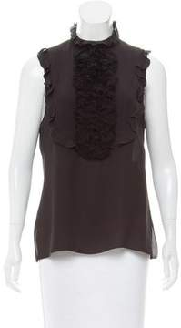 Andrew Gn Chiffon-Accented Silk Top
