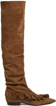 J.W.Anderson Ruffled suede slouched over-the-knee boots