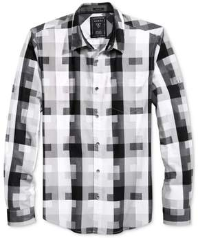 GUESS Mens Shadescale Button Up Shirt Grey XL - Big & Tall