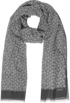 Lanvin Paisley Print Cotton Blend Men's Long Scarf w/Fringes