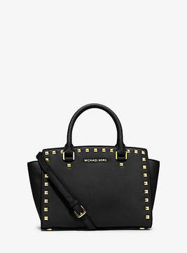 Michael Kors Selma Medium Studded Saffiano Leather Satchel - BLACK - STYLE