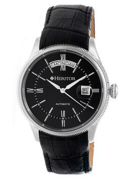 Heritor Vernon Mens Black Strap Watch-Herhr5806