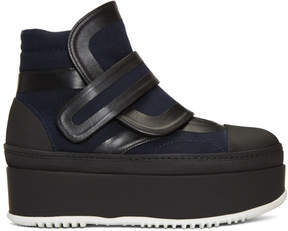 Marni Navy and Black Strap Boots