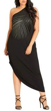 City Chic Plus Shimmer Palm Maxi Dress
