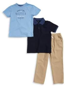 Nautica Boy's Maritime Tee, Polo and Pants Set