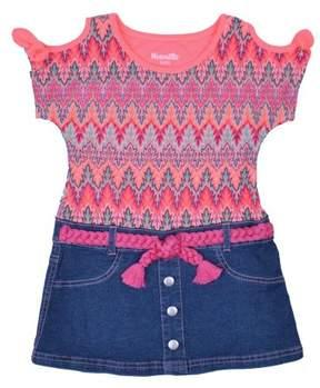 Nannette Little Girls' 4-6X Cold Shoulder Flamestitch Lace and Denim Marsha Dress