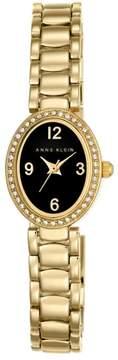 Anne Klein Crystal Bezel Goldtone Oval Black Dial Bracelet Watch