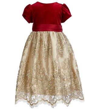 Jayne Copeland Little Girls 2T-6X Velvet/Embroidered Mesh Fit-And-Flare Dress