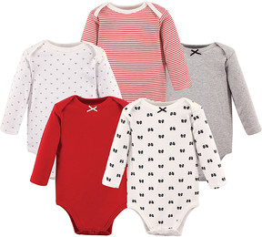 Hudson Baby Red & Pink Bow Long-Sleeve Bodysuit Set - Newborn & Infant