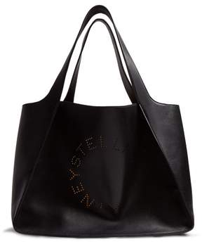 Stella McCartney Stella Perforated Logo Faux Leather Tote - Womens - Black