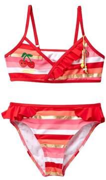 Juicy Couture Black Label Asymmetrical Cami Ruffle Swimsuit Set (Big Girls)