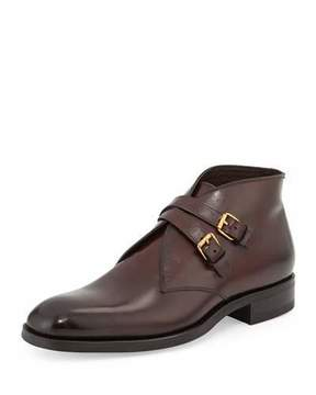 Tom Ford Edward Double-Buckle Boot, Burgundy